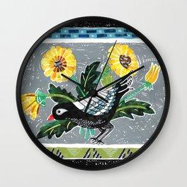 Bird & Dandelions Wall Clock