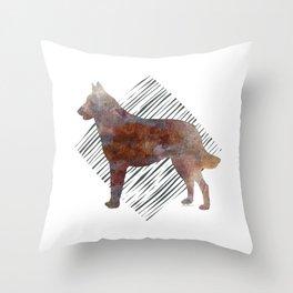 Modern Belgian Malinois Dog Watercolor Stripes Throw Pillow