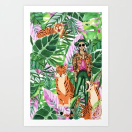 Woman and her Tigers Art Print
