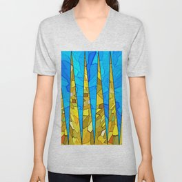 Colorful modern abstract Tiffany style print Unisex V-Neck