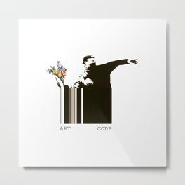 flower thrower banksy art code Metal Print