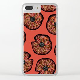 Rusted Poppy Pattern - red and brown poppies autumn fall Clear iPhone Case