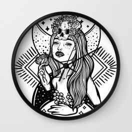 Lady Death. Pretty woman with flower and skull Wall Clock