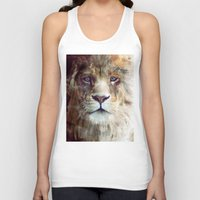 face Tank Tops featuring Lion // Majesty by Amy Hamilton