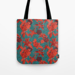 Linocut look in blue with roses Tote Bag