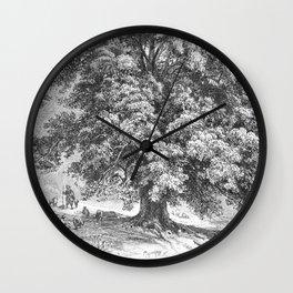Linden Tree Print from 1800's Encyclopedia Wall Clock