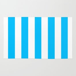 Deep sky blue - solid color - white vertical lines pattern Rug