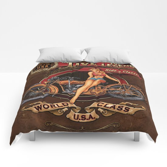 Live the Legend - Motorcycle Vintage Tin Sign Comforters