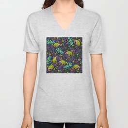 Tropical Neon: Green Sea Turtles and Flowers Pattern Unisex V-Neck