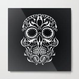 Day of the Dead Skull - Hearts Metal Print