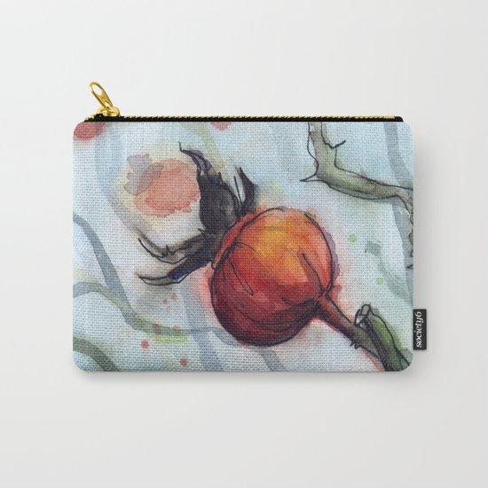 Rose Hips Abstract Watercolor Nature Carry-All Pouch