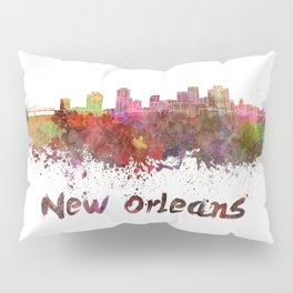 New Orleans skyline in watercolor Pillow Sham