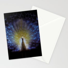 Majestic White Peacock ~ yo͞onəˌvərs Stationery Cards