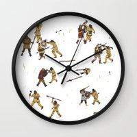 fight Wall Clocks featuring Fight! by Joe Lillington