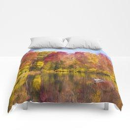 Autumn Pond With Mallard Duck Comforters