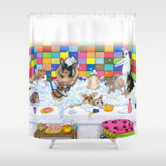 Funny Chihuahuas in bath Shower Curtain