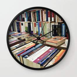 Sale of books on flea market Wall Clock