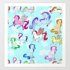Unicorn repeating pattern colorful on blue Art Print