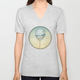 balloon fish o2, freedom in a bubble Unisex V-Neck