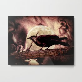 Crow Black Bird Full Moon Surreal Gothic Home Decor Art A143 Metal Print