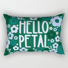 Hello Petal Welcome in Teal Green Rectangular Pillow