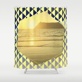 Port Erin - yellow hexagon Shower Curtain