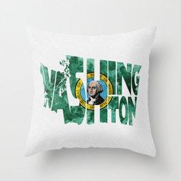 Washington Typographic Flag Map Art Throw Pillow