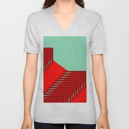 Line pattern, zigzagging with red and green Unisex V-Neck