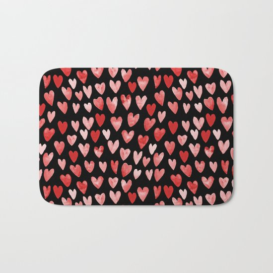Watercolor Hearts pattern black red and pink minimal valentines day perfect gift for love Bath Mat