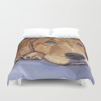 golden retriever Duvet Covers featuring Golden Retriever Eyes by Barking Dog Creations Studio