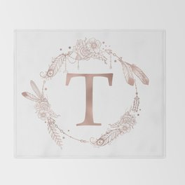 Letter T Rose Gold Pink Initial Monogram Throw Blanket