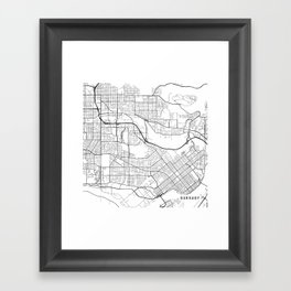 Burnaby Map, Canada - Black and White Framed Art Print