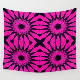 Pink & Black Flowers Wall Tapestry