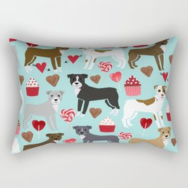 Pitbull dog breed love valentines day cupcakes hearts dog breeds pibble gifts Rectangular Pillow