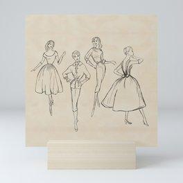 Vintage Fashion Sketches Mini Art Print
