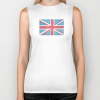 uk Biker Tanks featuring UK Flag by sinonelineman