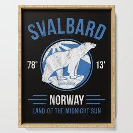 Svalbard Arctic Polar Bear - Midnight Sun in Longyearbyen Norway Serving Tray