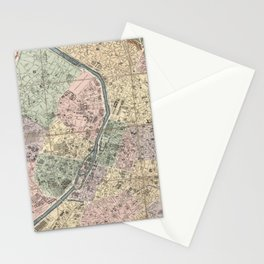 Vinage Map of Paris France (1878) Stationery Cards