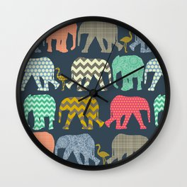 baby elephants and flamingos Wall Clock