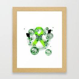 Green Ribbon - Mental Illness Awareness Framed Art Print
