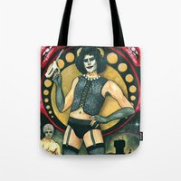 rocky horror picture show Tote Bags featuring Frank-N-Furter - Rocky Horror Picture Show by DanaRobinson