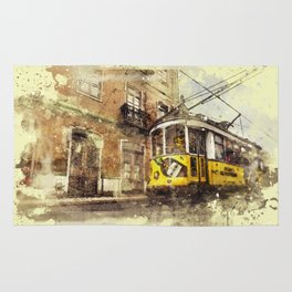 Trolly Train Car subway vintage rustic watercolor painting acrylic france europe italy amsterdam art Rug