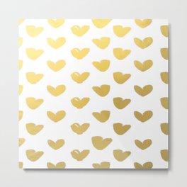 Gold Heart Love Brushstroke Watercolor Pattern Metal Print