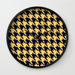 Yellow Black Houndstooth Wall Clock