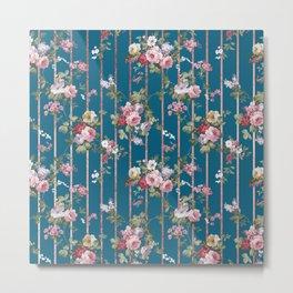 Vintage blue blush pink red floral modern stripes pattern Metal Print