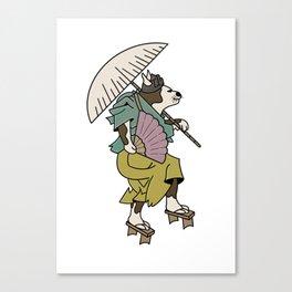 Cat With Ōgi Canvas Print