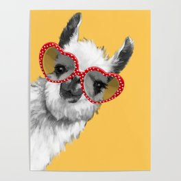 Fashion Hipster Llama with Glasses Poster