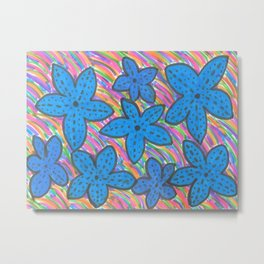 Rainbow Bright Blue Starfish Metal Print