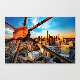 Downtown Dallas Texas Skyline Through Reunion Tower Canvas Print