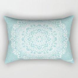 Mandala on concrete - teal Rectangular Pillow